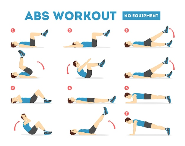 Abs workout for men. exercise for perfect body Premium Vector
