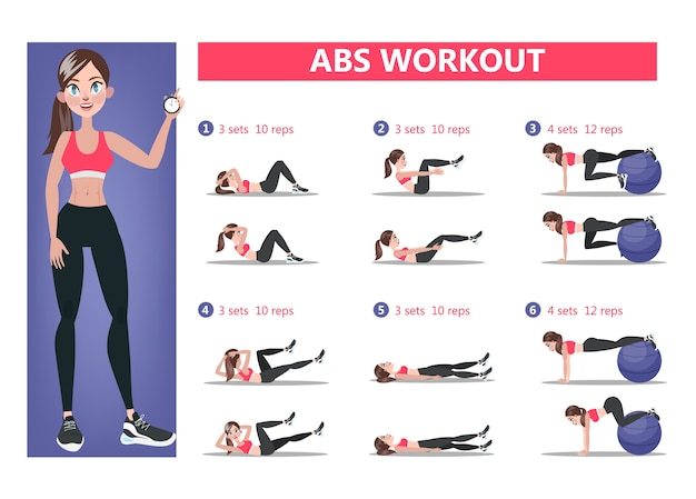 Abs workout for women. sport exercise for perfect abs. fit body and healthy lifestyle. muscle training. isolated vector illustration Premium Vector