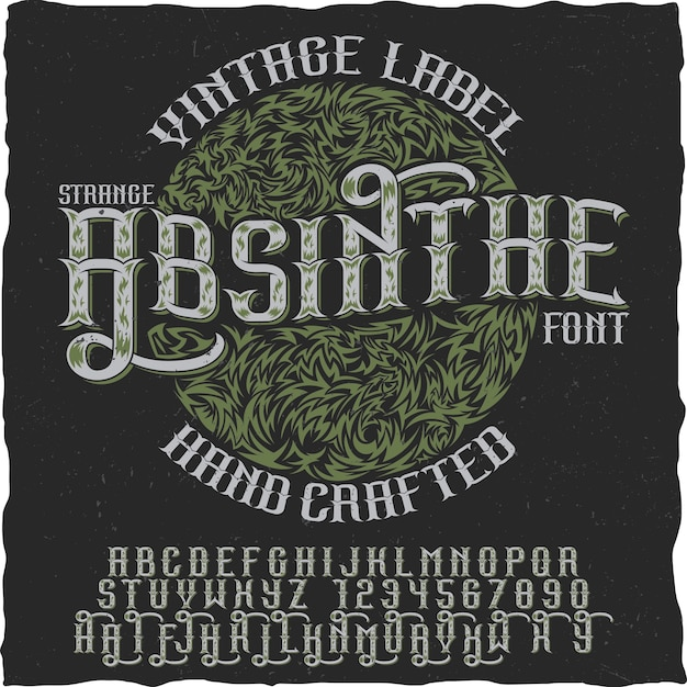 Absinthe hand crafted poster to use in any vintage style labels of alcohol Free Vector