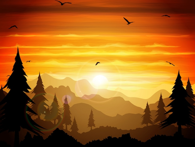 Absolutely silent twilight of the forest. Premium Vector