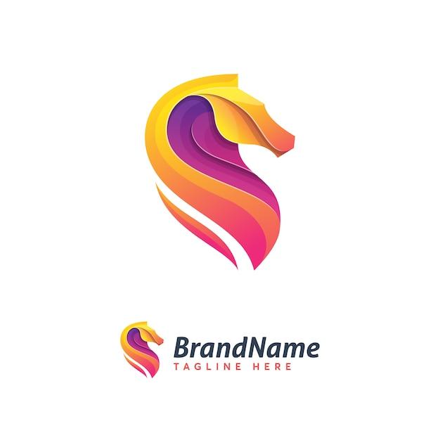 Absrack horse logo template ilustration icon Premium Vector