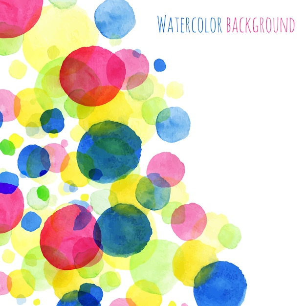 Abstact background, watercolor painted round splashes colorful greeting card vector design sample Premium Vector
