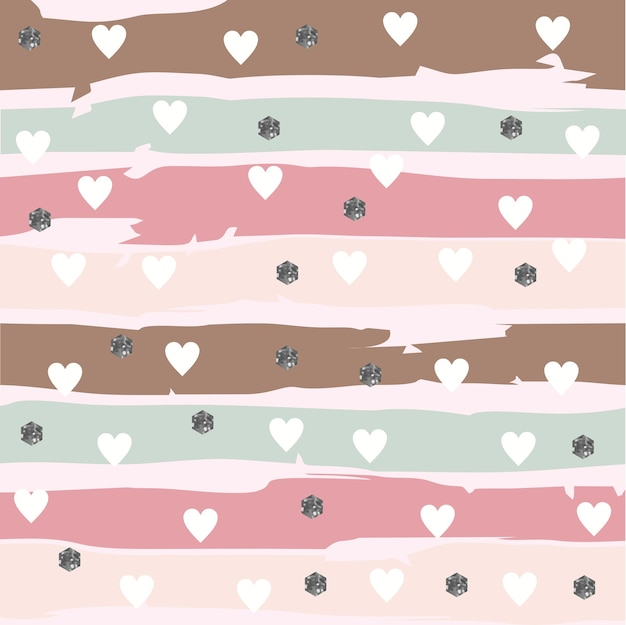 Abstarct striped pattern with hearts and glittery hexagon Premium Vector