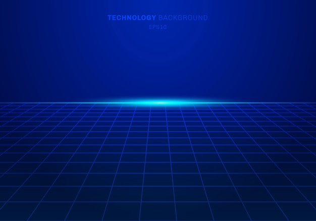 Abstrac digital technology square grid pattern blue background Premium Vector
