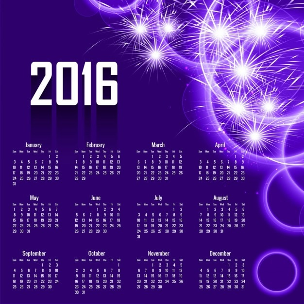 Abstract 2016 calendar design in purple color