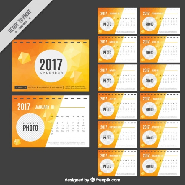 Abstract 2017 calendar  Free Vector