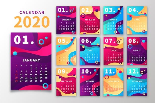 抽象的な2020カレンダーテンプレート Premiumベクター