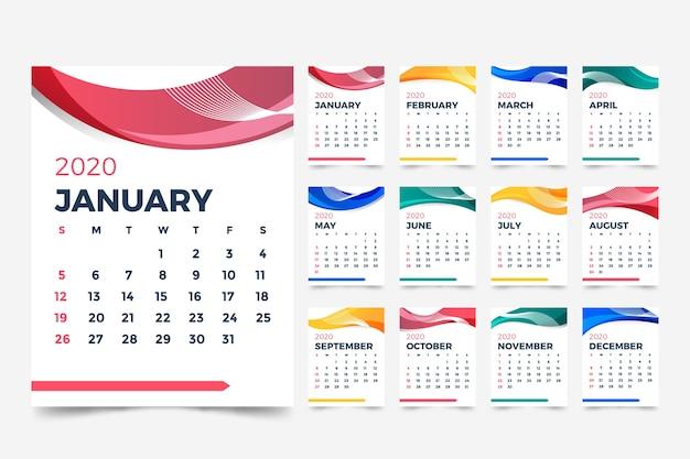 Abstract 2020 calendar template Free Vector