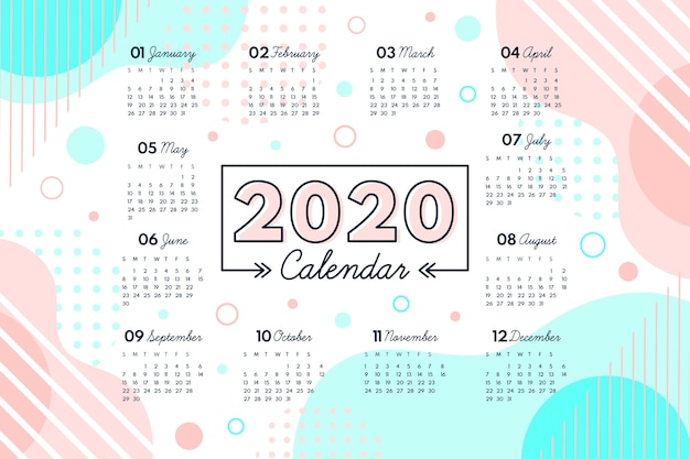 Abstract 2020 Calendar Template Free Vector