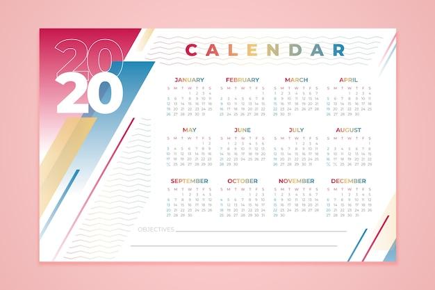 Шаблон календаря 2020 года Premium векторы