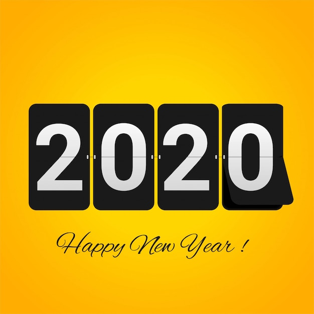 Abstract 2020 new year greeting card Free Vector