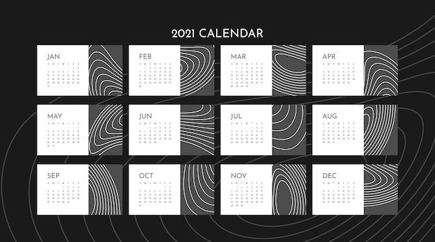 Abstract 2021 calendar template Premium Vector