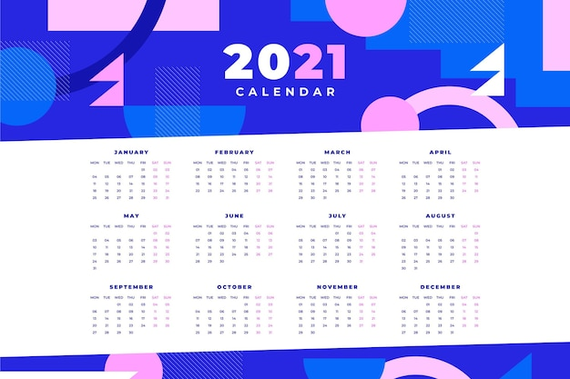 Abstract 2021 calendar template Free Vector