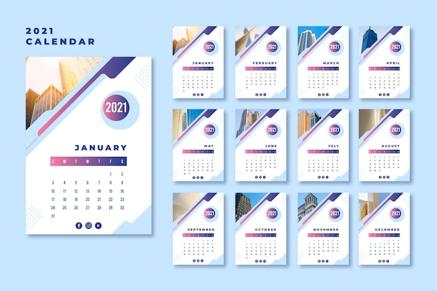 Modello di calendario astratto 2021 Vettore gratuito