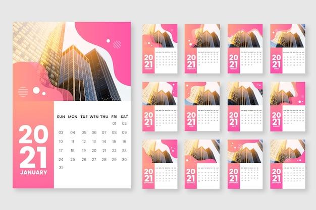 Шаблон календаря на 2021 год Бесплатные векторы