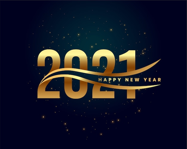 Abstract 2021 happy new year golden wishes card Free Vector