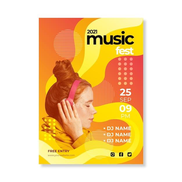 抽象的な2021音楽イベントポスターテンプレート 無料ベクター