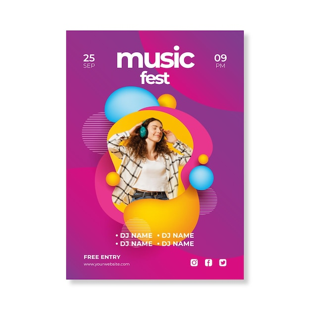 抽象的な2021音楽イベントポスター 無料ベクター