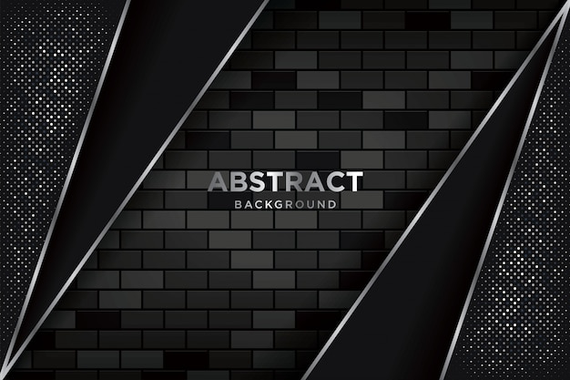 Abstract 3d background with realistic dark brickwalls Premium Vector