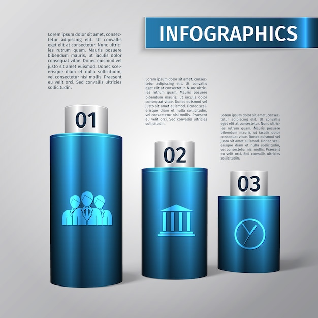 Abstract 3d chart business infographics layout template vector illustration Free Vector