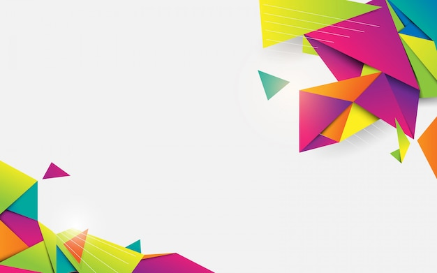 Abstract 3d crystal colorful geometric shape with white space for your design Premium Vector
