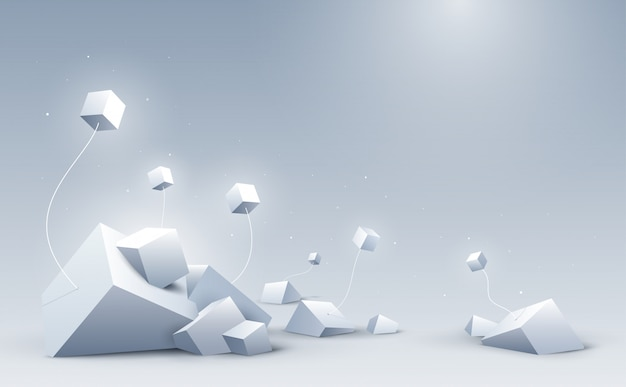 Abstract 3d cubes background, science and technology background, Premium Vector