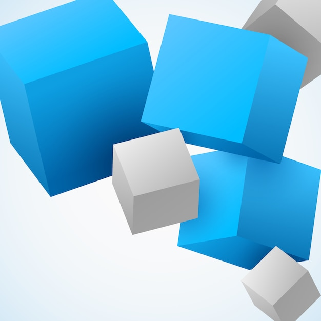 Abstract 3d cubes Free Vector