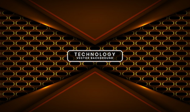 Abstract 3d dark technology background with oval metallic, overlap layer with yellow light effect decoration Premium Vector