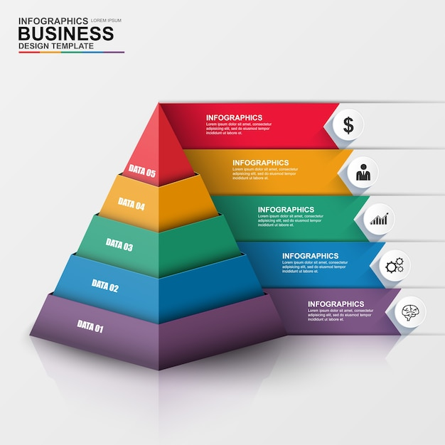 Abstract 3d digital business infographic Premium Vector