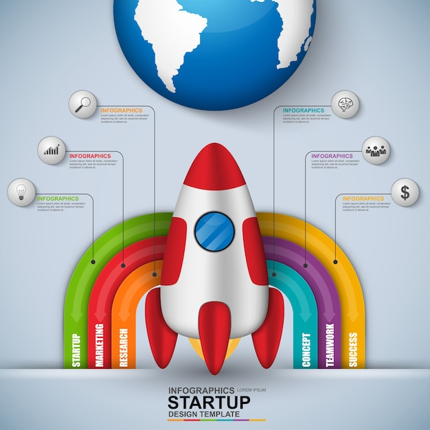Abstract 3d digital business startup infographic. can be used for workflow processes, bann Premium Vector