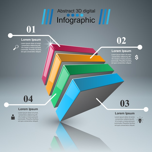 Abstract 3D digital illustration Infographic. Premium Vector