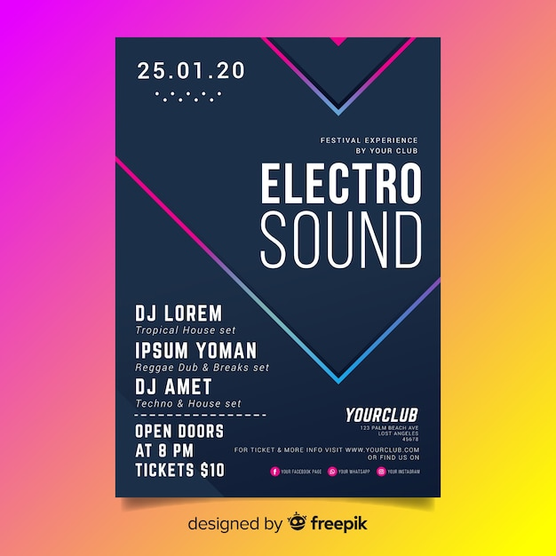 Abstract 3d effect electronic music flyer template Free Vector