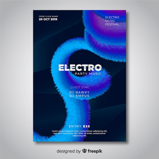 Abstract 3d effect electronic music poster template Free Vector