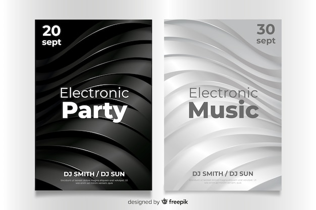 Abstract 3d electronic music poster template Free Vector