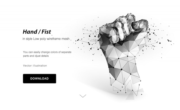 Abstract 3d fist, low poly wireframe, Premium Vector