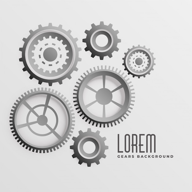 Abstract 3d gears background in different styles Free Vector