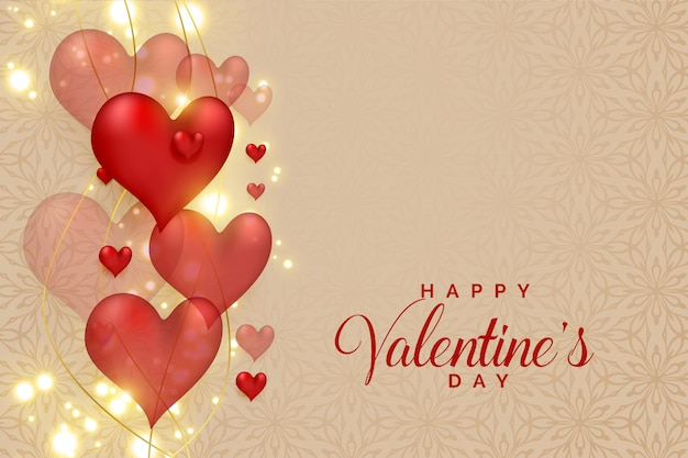Abstract 3d hearts on glowing sparkles for valentines day Free Vector