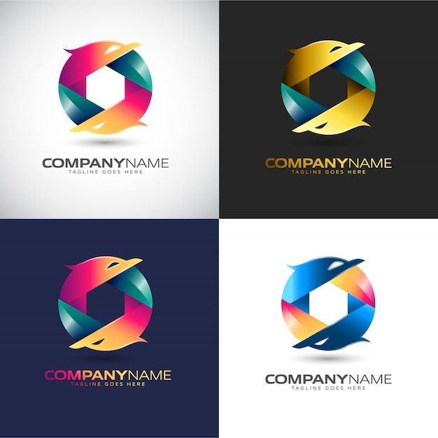 Abstract 3d logo template for your company brand Premium Vector