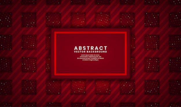 Abstract 3d red rectangle luxury background overlap layer on dark space with dots glitter and wood textured shape Premium Vector