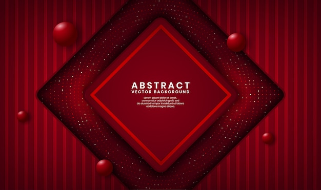 Abstract 3d red rhomb luxury background overlap layer on dark space with dots glitter and wood textured shape Premium Vector