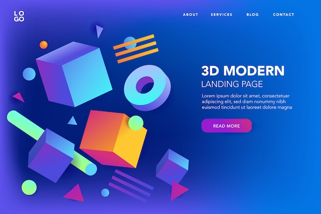 Abstract 3d shapes background of landing page Free Vector
