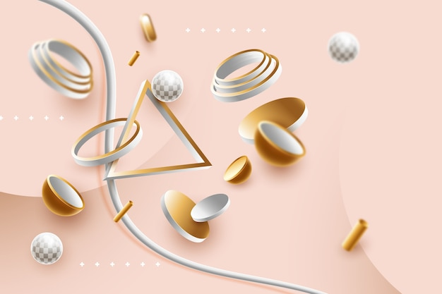 Abstract 3d shapes background Free Vector