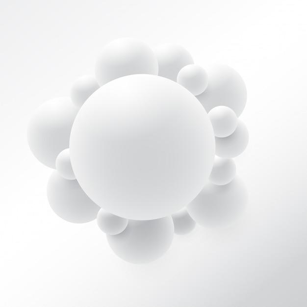 Abstract 3d sphere design. 3d molecules concept, atoms. on white background Premium Vector
