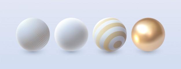 Абстрактные 3d сферы установлены. , элементы декора для дизайна. белые и золотые формы Premium векторы