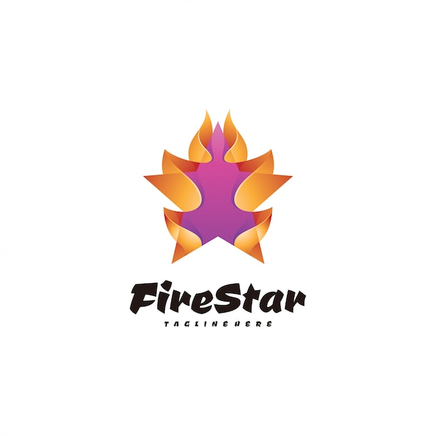 Abstract 3d star and fire flame logo Premium Vector