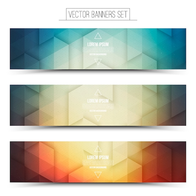 Abstract 3d vector bright colored web banners set Premium Vector