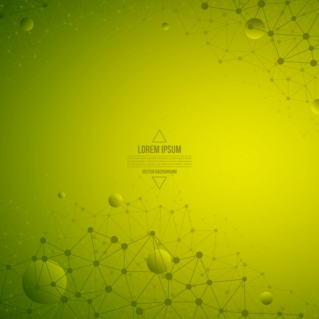 Abstract 3d vector technology green background. wireframe structure Premium Vector
