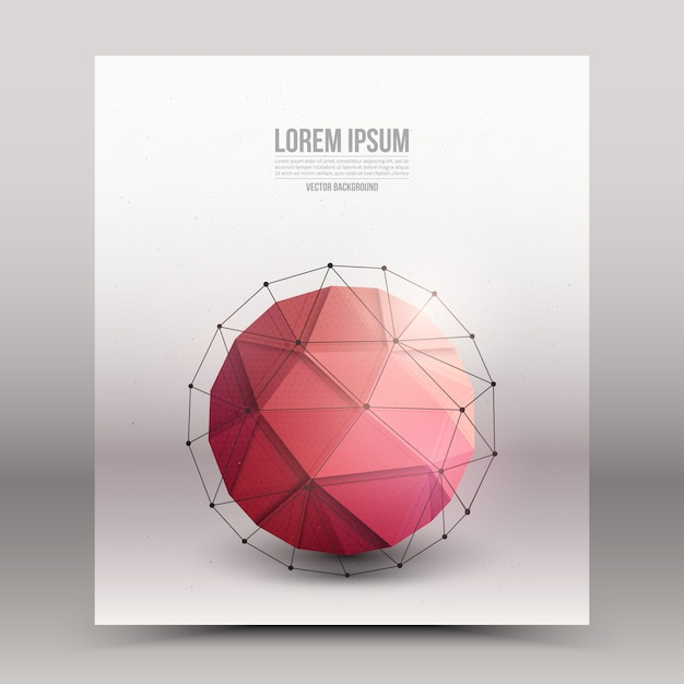Abstract 3d vector technology orb with wireframe structure background Premium Vector