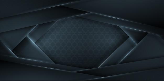 黒い紙層で3 dを抽象化します。幾何学的な図。素子。エレガントな装飾 Premiumベクター