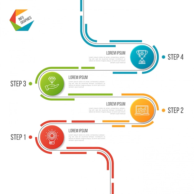 Abstract 4 steps road timeline infographic template. Premium Vector